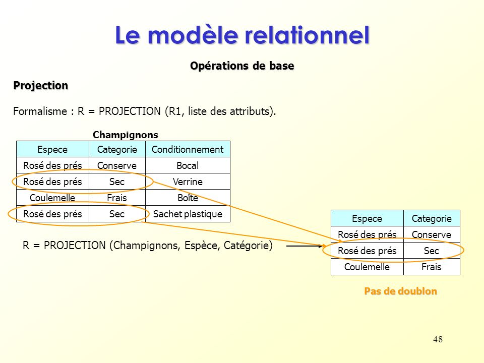 Le modèle relationnel Opérations de base Projection