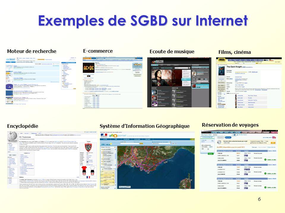 Exemples de SGBD sur Internet