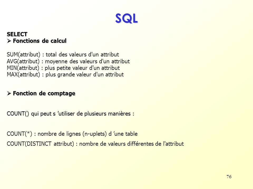 SQL SELECT  Fonctions de calcul