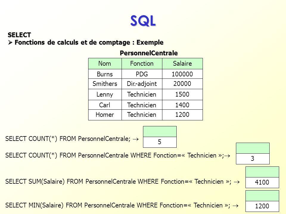 SQL SELECT  Fonctions de calculs et de comptage : Exemple Nom
