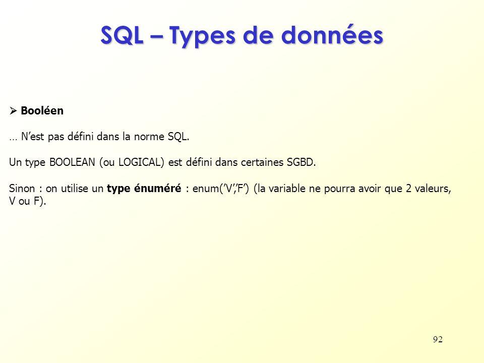 SQL – Types de données  Booléen … N'est pas défini dans la norme SQL.