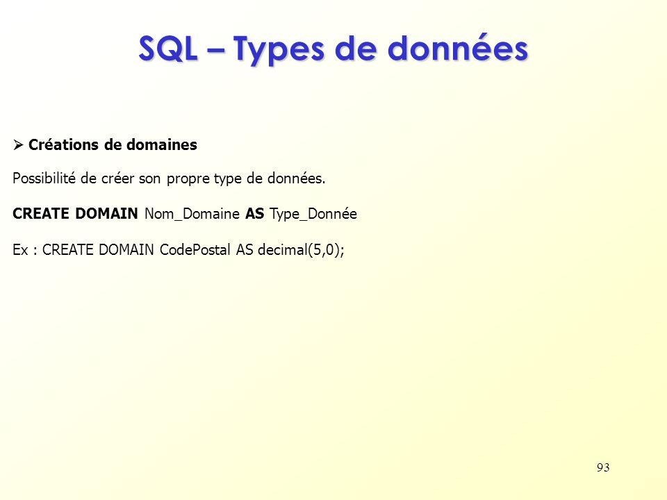 SQL – Types de données  Créations de domaines