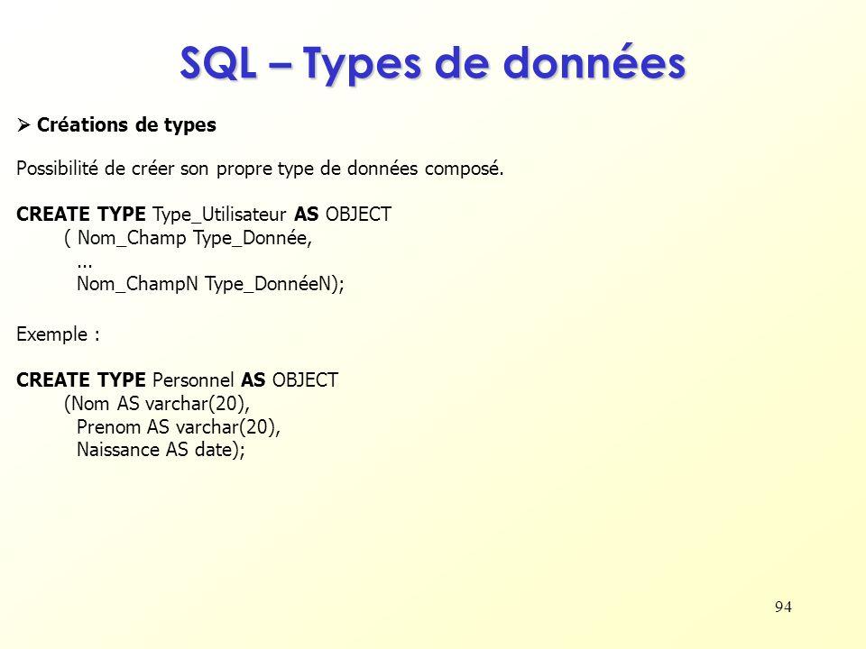 SQL – Types de données  Créations de types