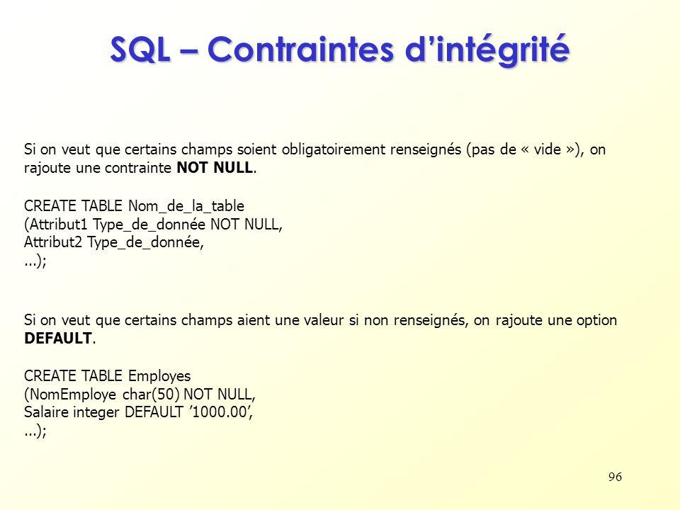 SQL – Contraintes d'intégrité