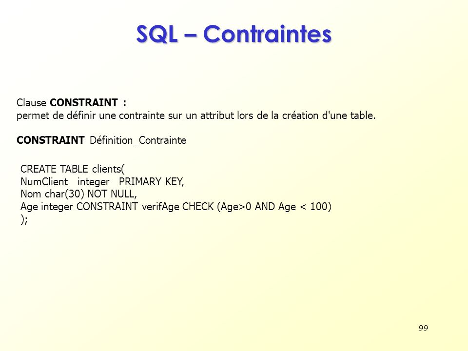 SQL – Contraintes Clause CONSTRAINT :