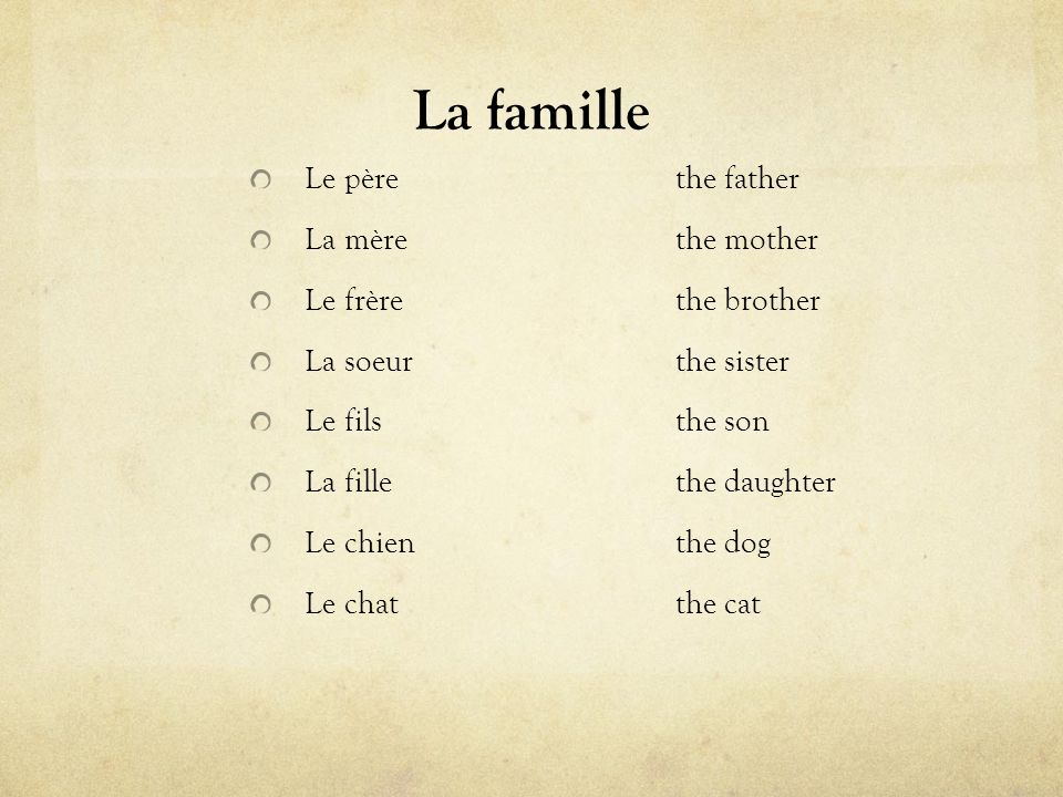La famille Le père the father La mère the mother Le frère the brother
