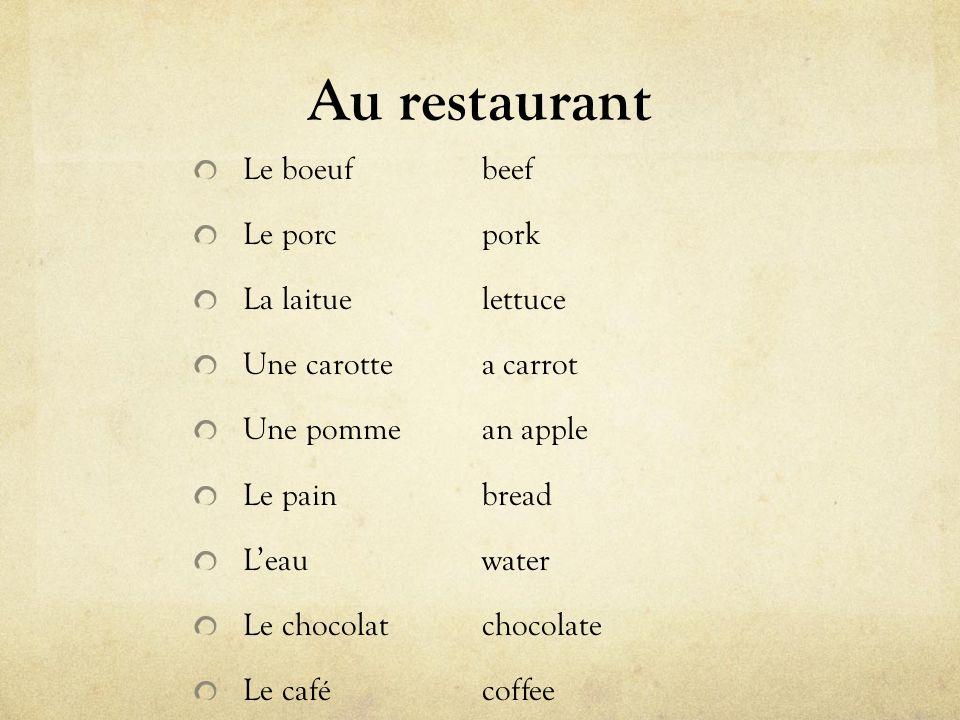 Au restaurant Le boeuf beef Le porc pork La laitue lettuce