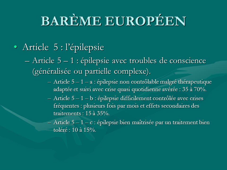 BARÈME EUROPÉEN Article 5 : l'épilepsie