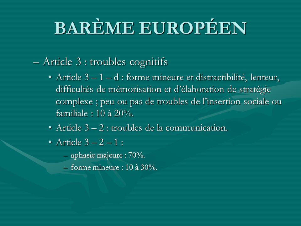 BARÈME EUROPÉEN Article 3 : troubles cognitifs
