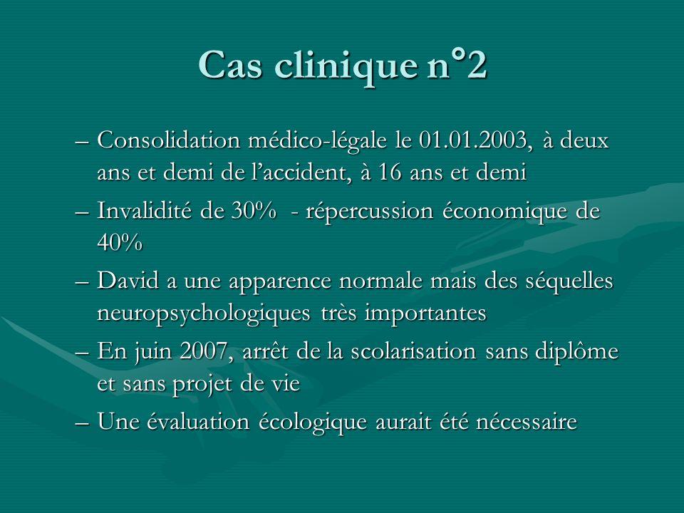 Cas clinique n°2 Consolidation médico-légale le 01.01.2003, à deux ans et demi de l'accident, à 16 ans et demi.