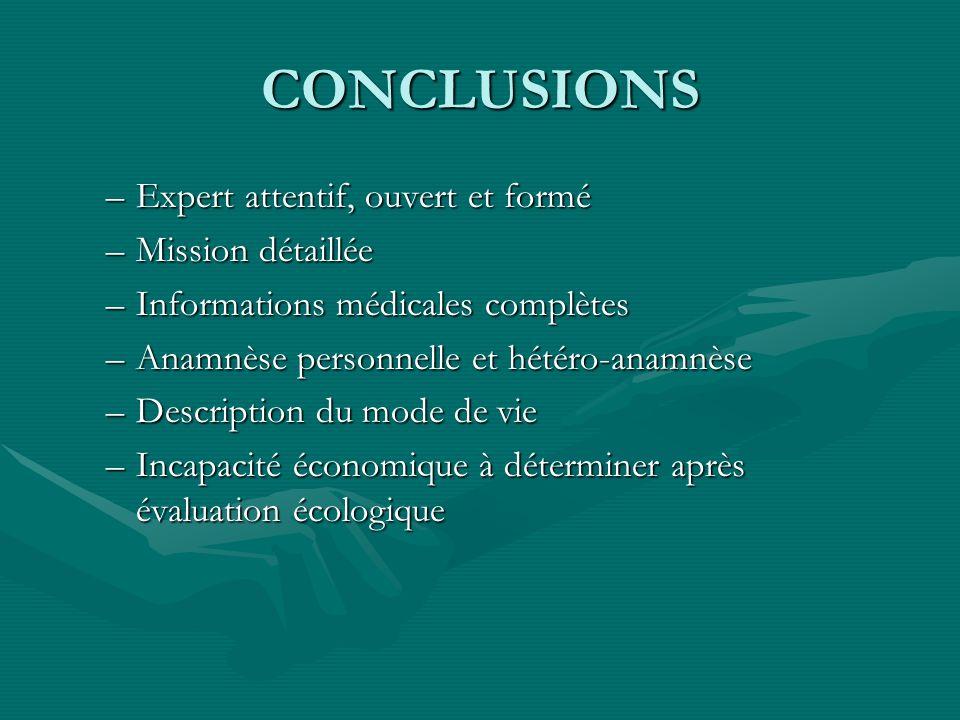 CONCLUSIONS Expert attentif, ouvert et formé Mission détaillée