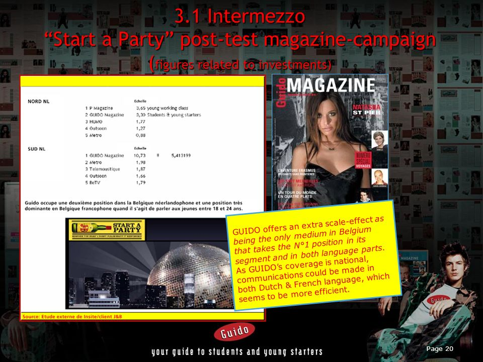 3.1 Intermezzo Start a Party post-test magazine-campaign (figures related to investments)