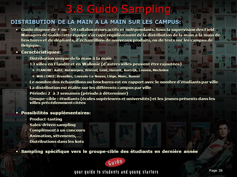 3.8 Guido Sampling DISTRIBUTION DE LA MAIN A LA MAIN SUR LES CAMPUS: