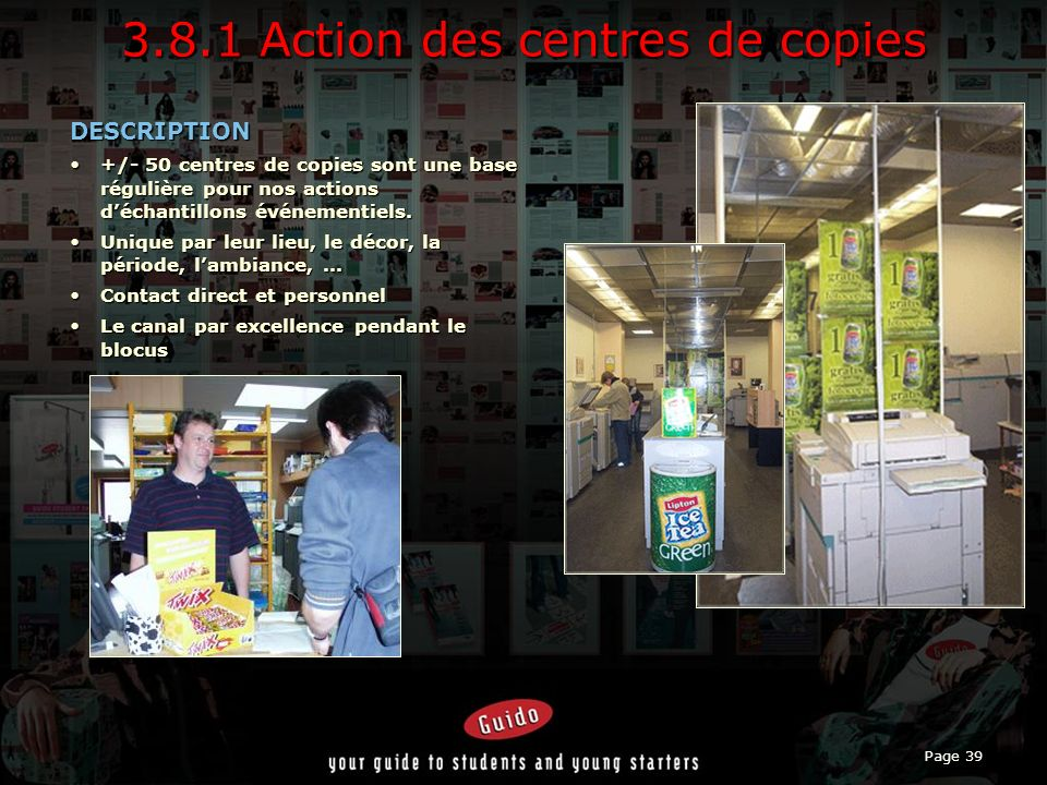 3.8.1 Action des centres de copies