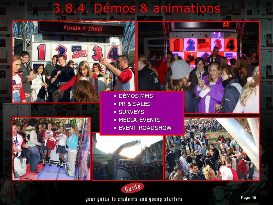 3.8.4. Démos & animations DÉMOS MMS PR & SALES SURVEYS MEDIA-EVENTS