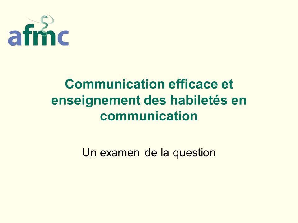 Communication efficace et enseignement des habiletés en communication