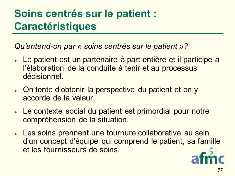 Soins centrés sur le patient : Caractéristiques
