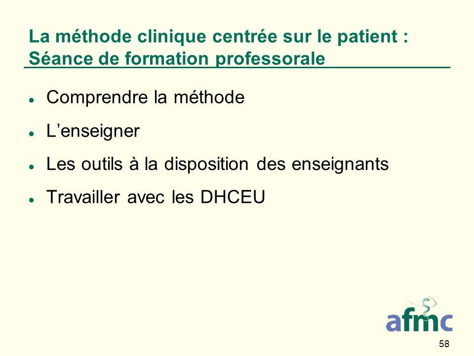 La méthode clinique centrée sur le patient : Séance de formation professorale