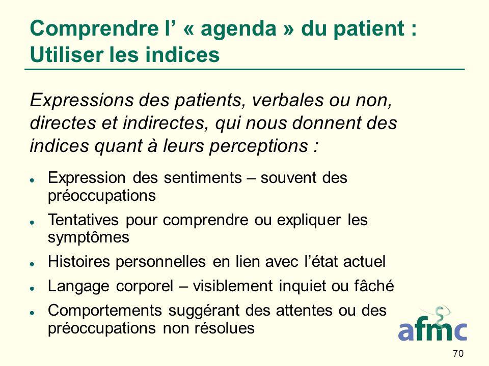 Comprendre l' « agenda » du patient : Utiliser les indices