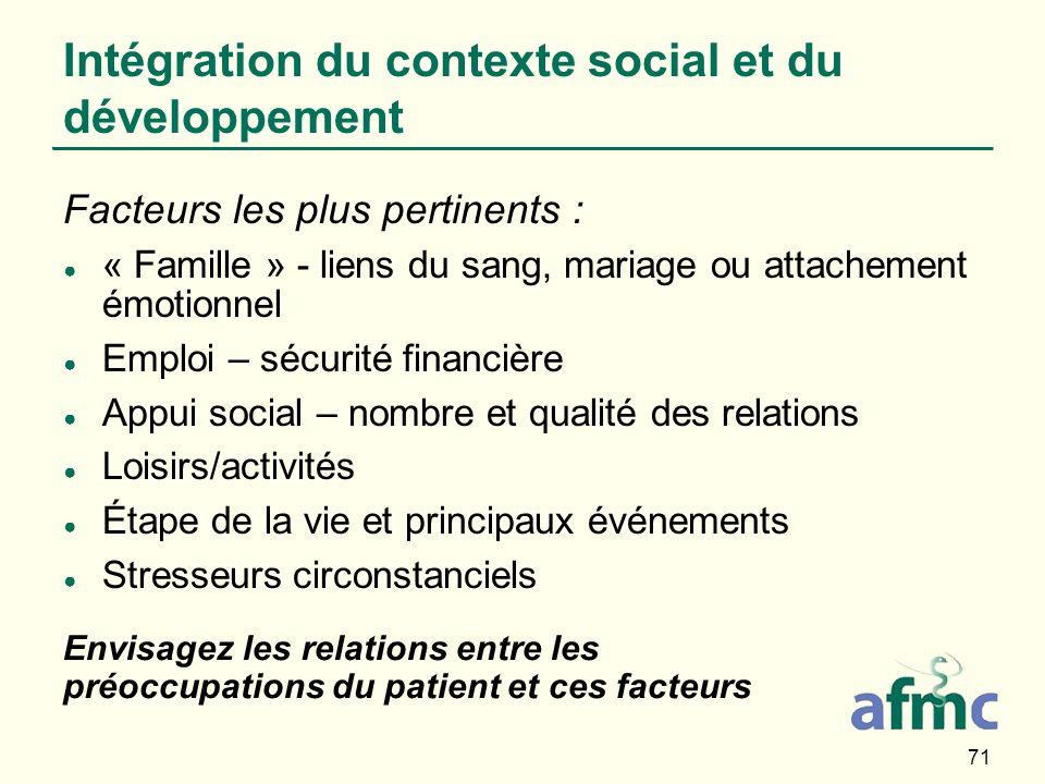 Intégration du contexte social et du développement
