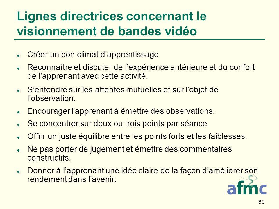 Lignes directrices concernant le visionnement de bandes vidéo