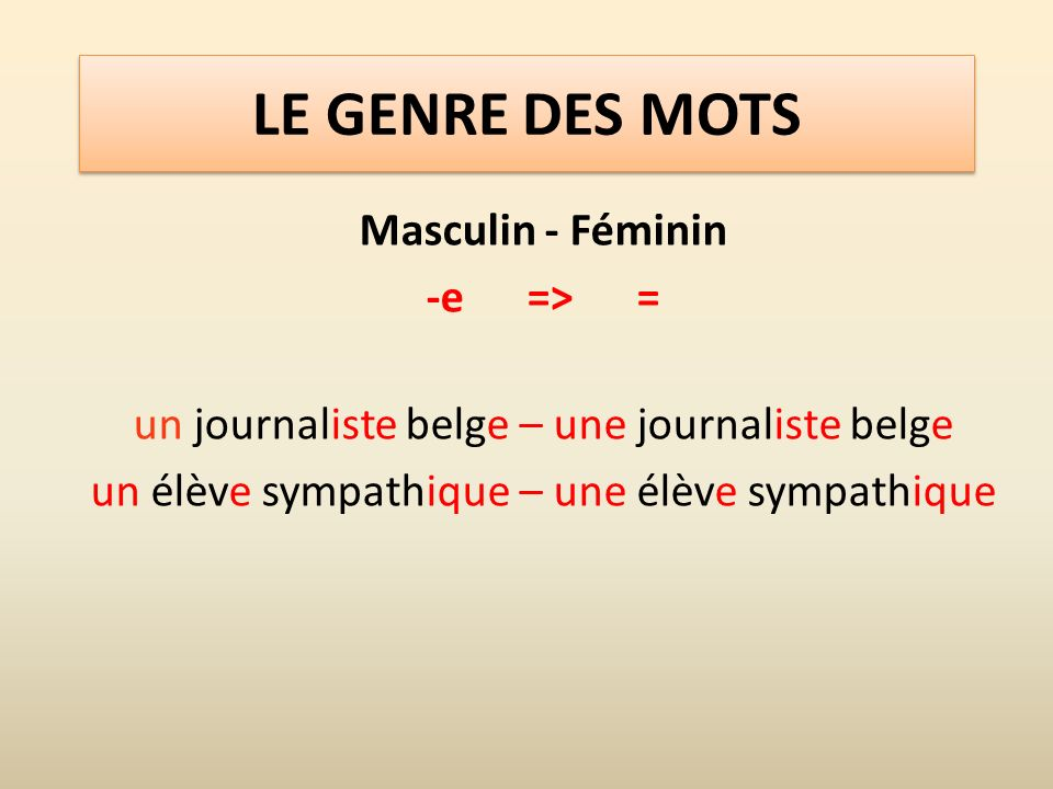 LE GENRE DES MOTS Masculin - Féminin -e => =