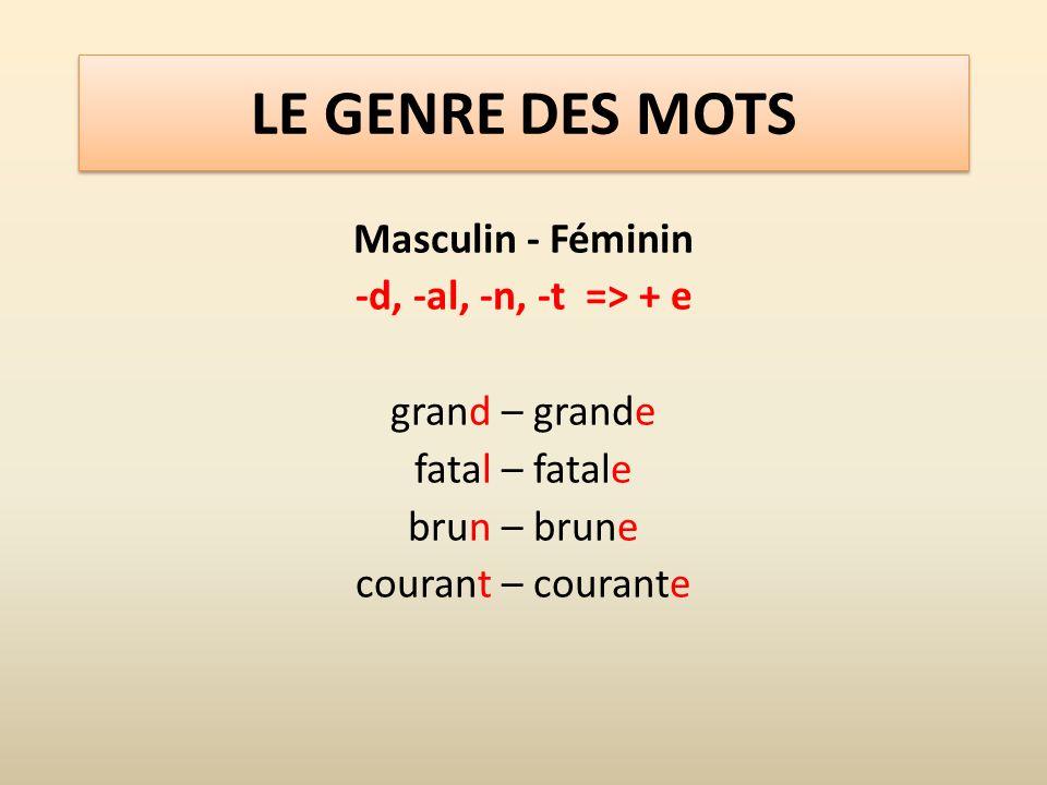 LE GENRE DES MOTS Masculin - Féminin -d, -al, -n, -t => + e