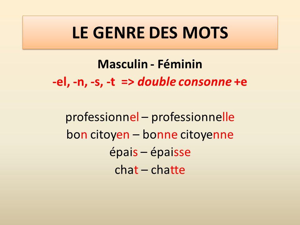 -el, -n, -s, -t => double consonne +e