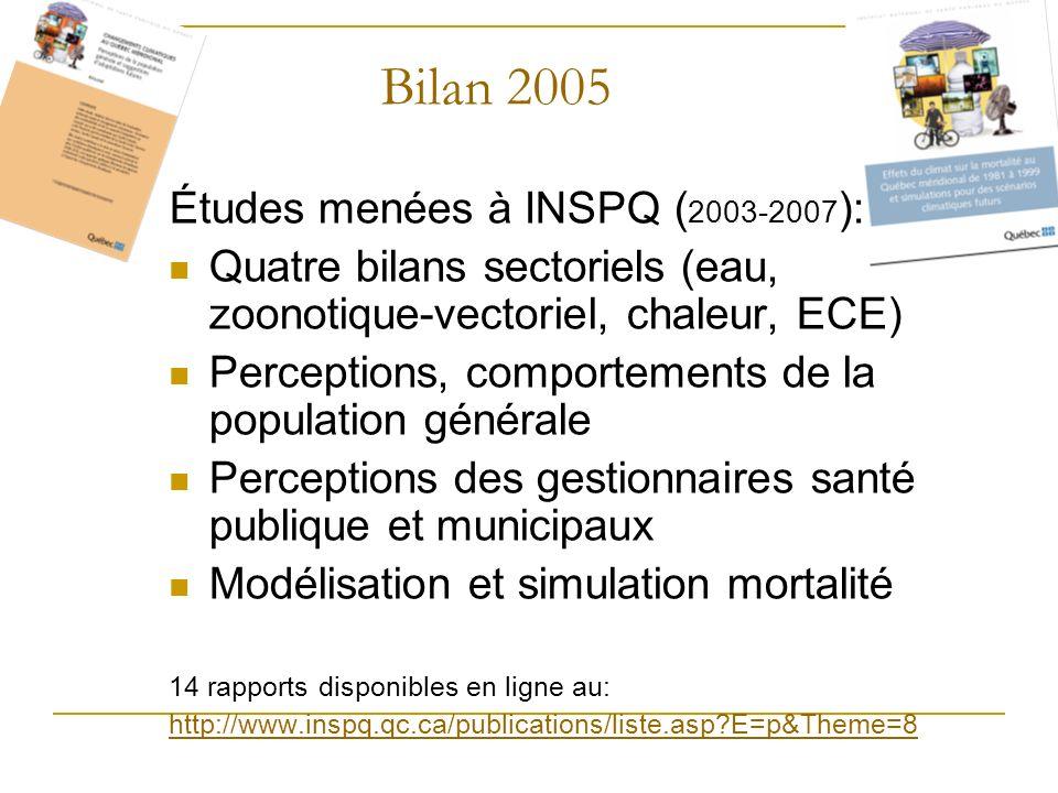 Bilan 2005 Études menées à INSPQ (2003-2007):