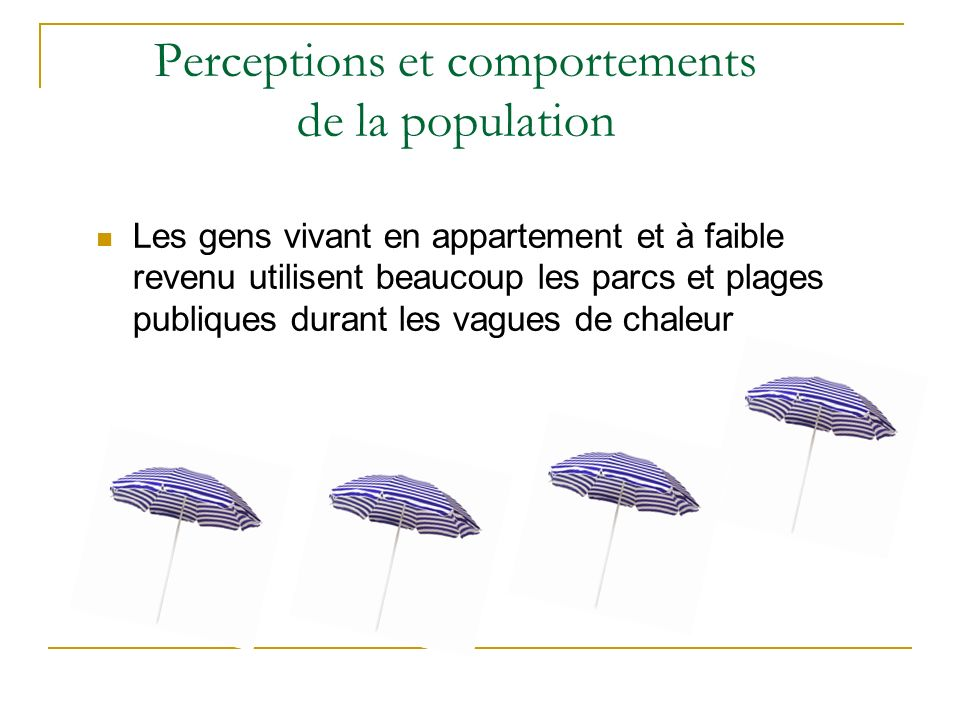 Perceptions et comportements de la population