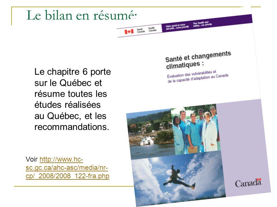 Le bilan en résumé: Le chapitre 6 porte sur le Québec et résume toutes les études réalisées au Québec, et les recommandations.