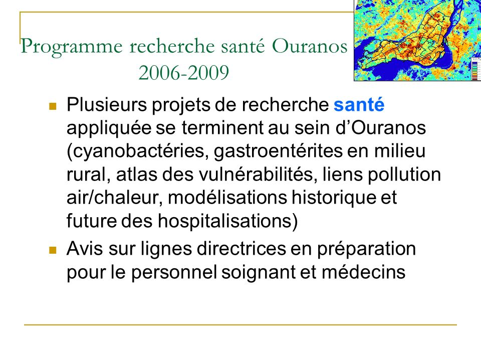 Programme recherche santé Ouranos 2006-2009