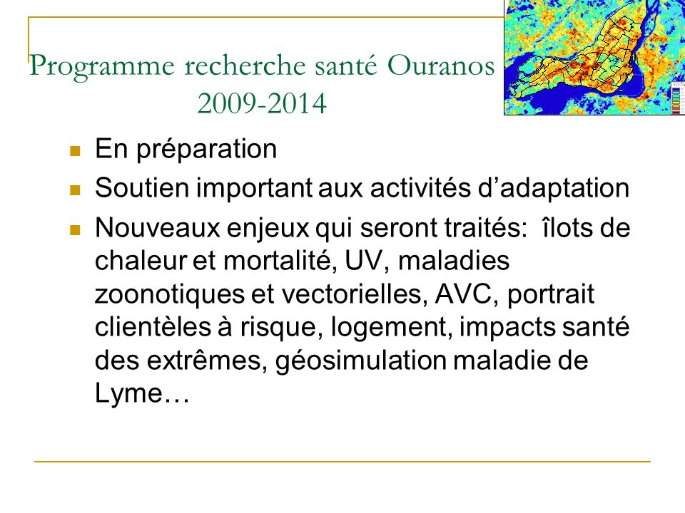 Programme recherche santé Ouranos 2009-2014