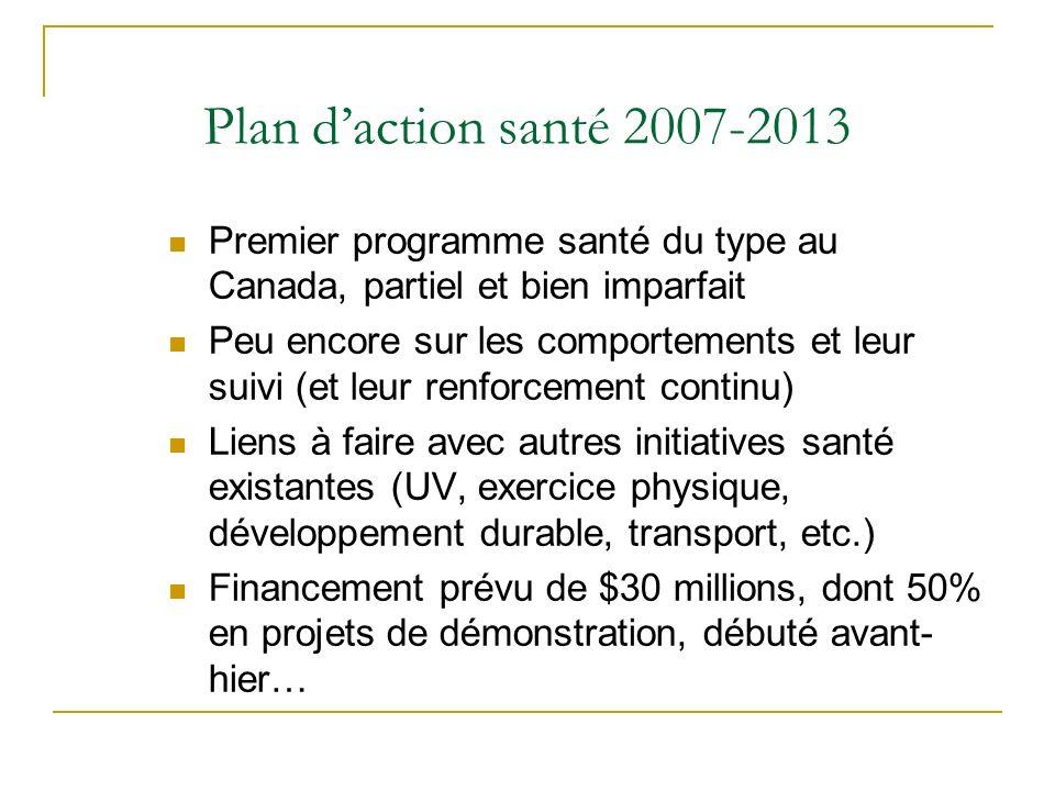 Plan d'action santé 2007-2013 Premier programme santé du type au Canada, partiel et bien imparfait.