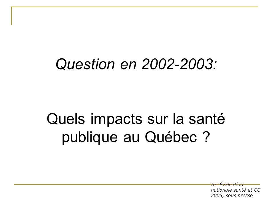 Quels impacts sur la santé publique au Québec