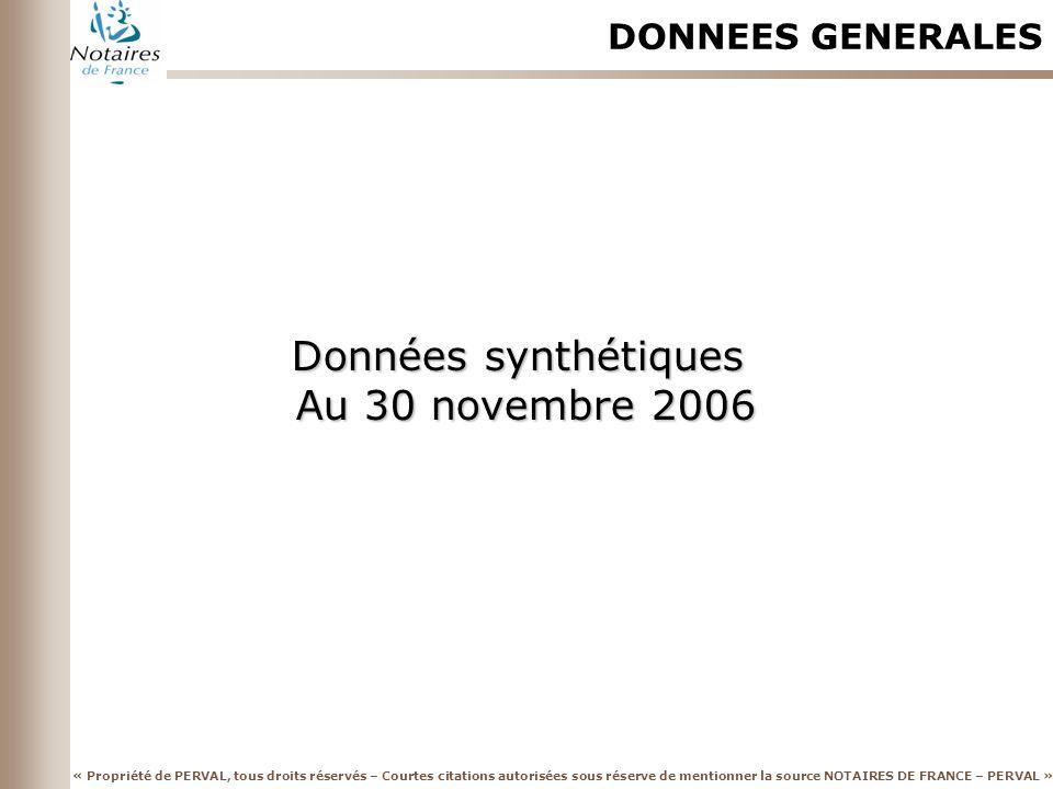 DONNEES GENERALES Données synthétiques Au 30 novembre 2006