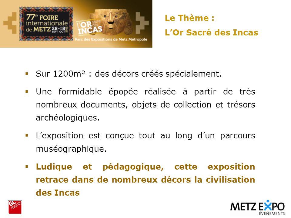 Le Thème : L'Or Sacré des Incas. Sur 1200m² : des décors créés spécialement.