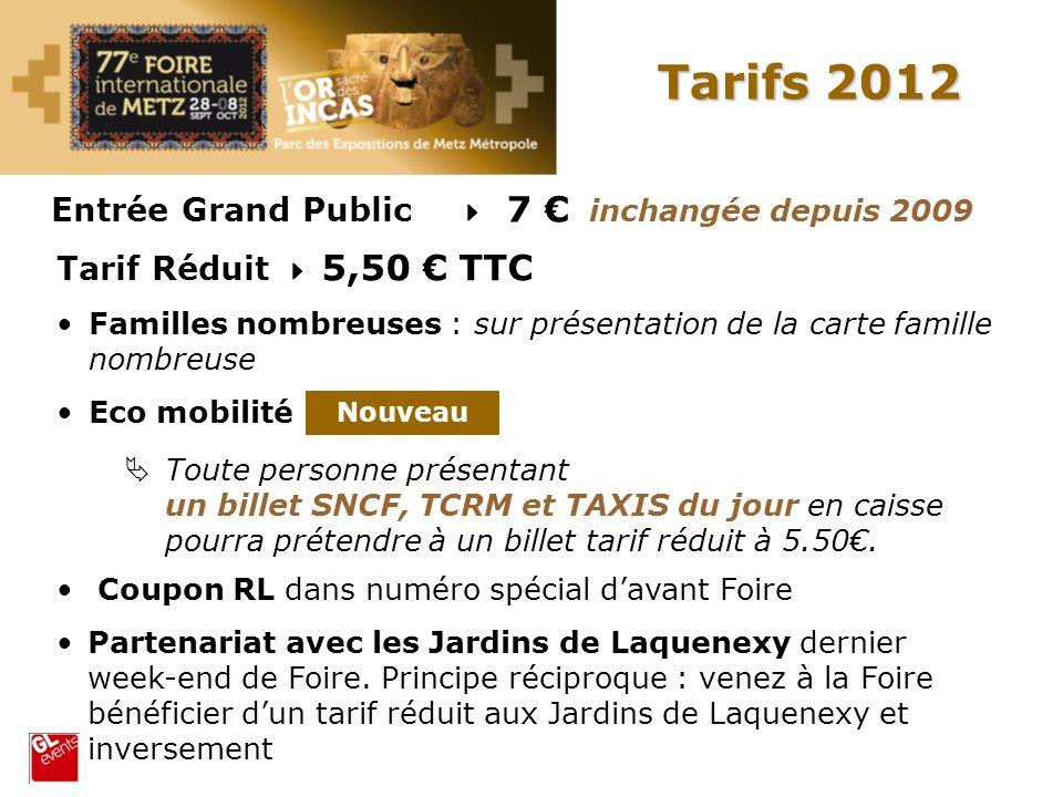 Tarifs 2012 Entrée Grand Public  7 € inchangée depuis 2009