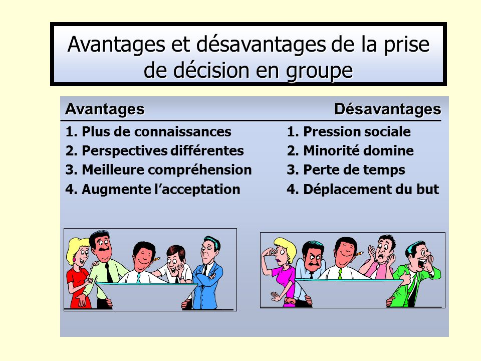 Avantages et désavantages de la prise de décision en groupe
