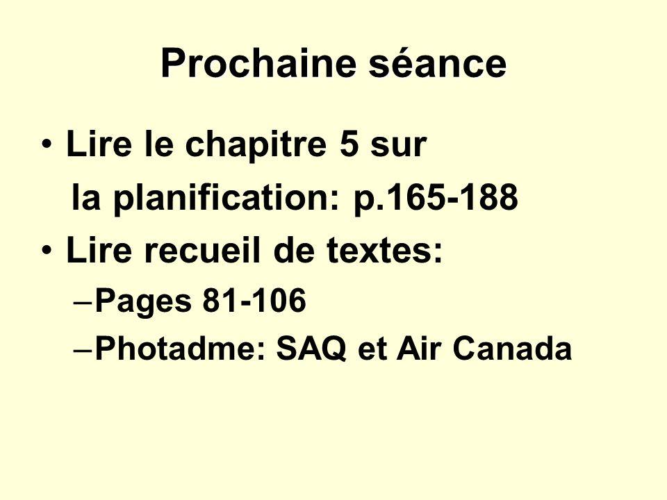 Prochaine séance Lire le chapitre 5 sur la planification: p.165-188
