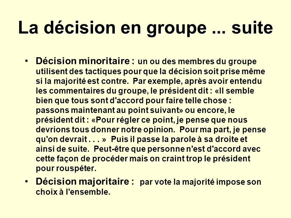 La décision en groupe ... suite