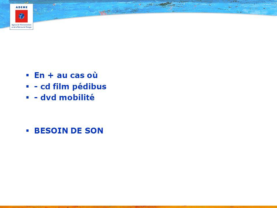 En + au cas où - cd film pédibus - dvd mobilité BESOIN DE SON