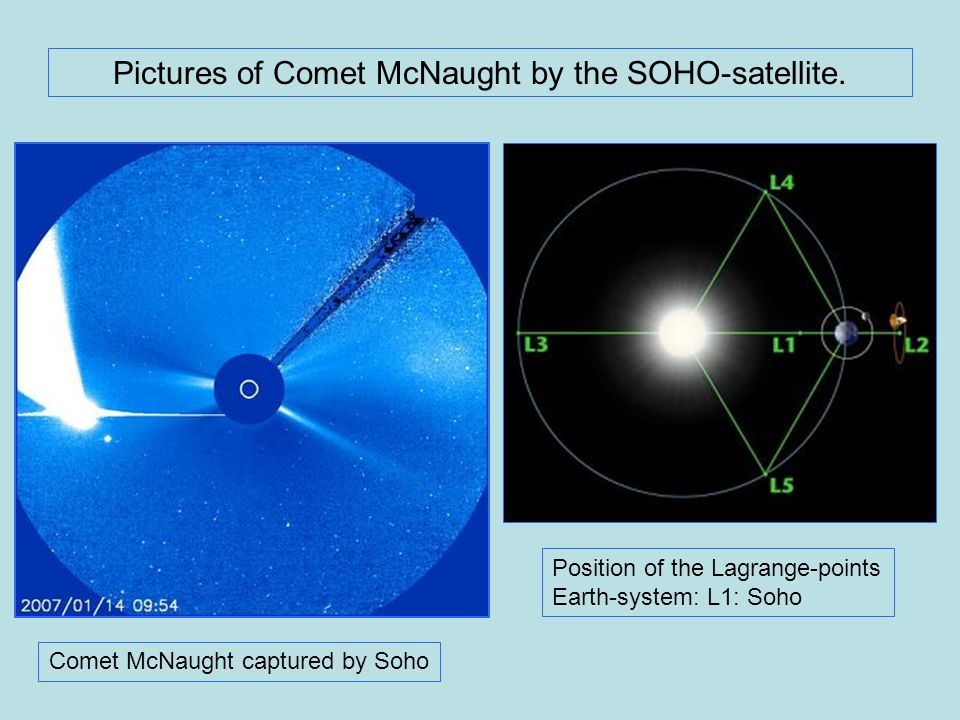 Pictures of Comet McNaught by the SOHO-satellite.