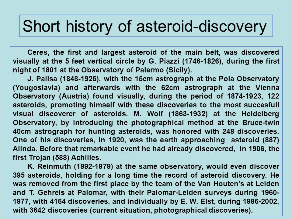Short history of asteroid-discovery