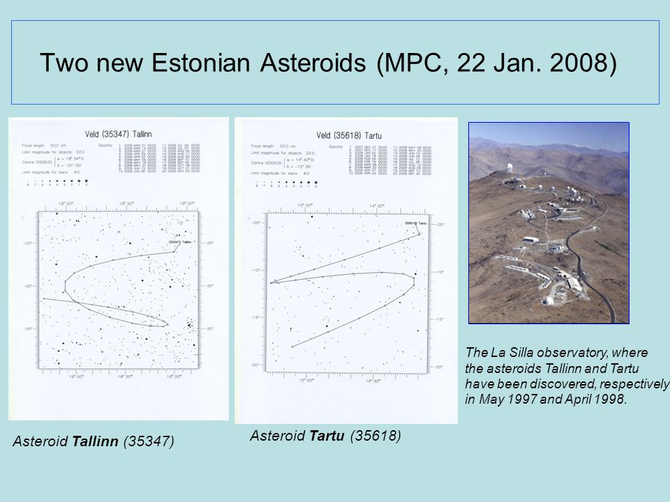Two new Estonian Asteroids (MPC, 22 Jan. 2008)