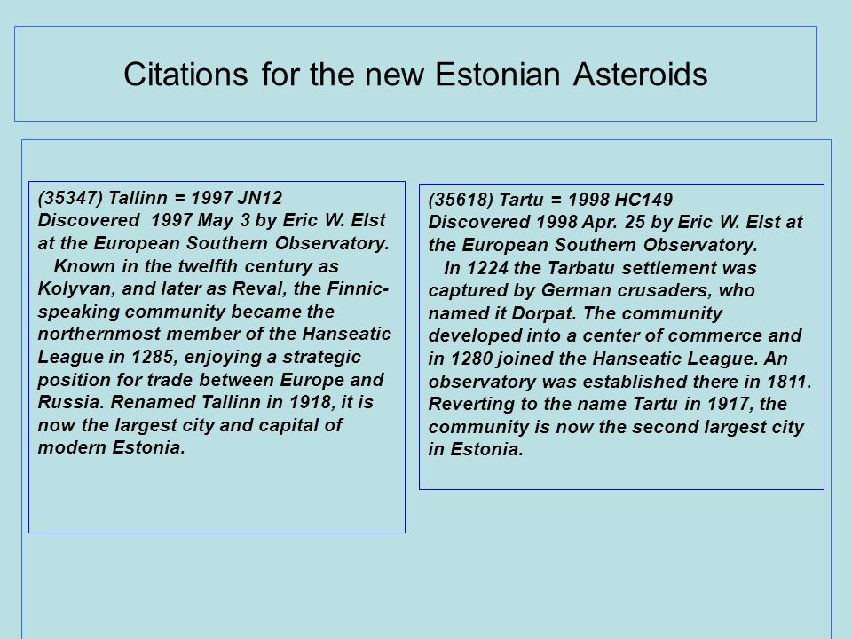 Citations for the new Estonian Asteroids