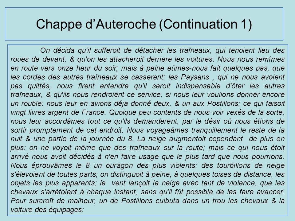 Chappe d'Auteroche (Continuation 1)