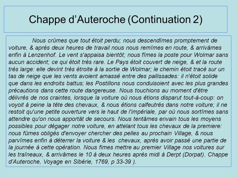 Chappe d'Auteroche (Continuation 2)