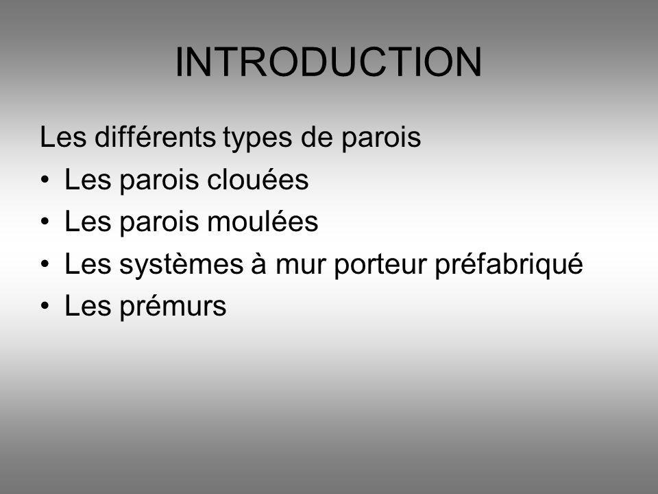 INTRODUCTION Les différents types de parois Les parois clouées