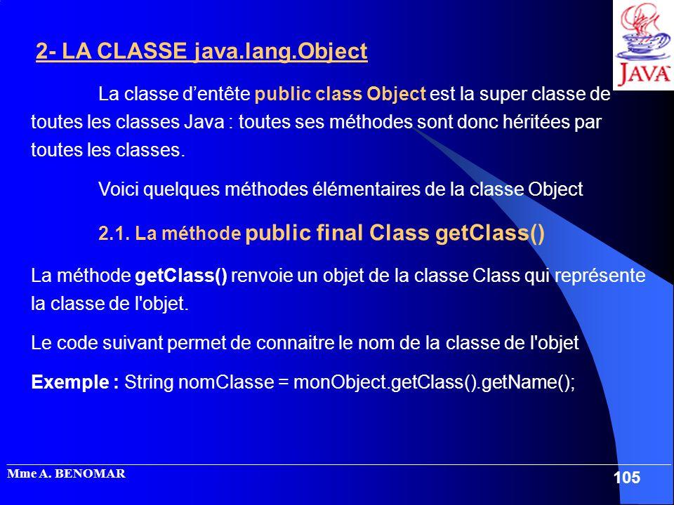 Voici quelques méthodes élémentaires de la classe Object